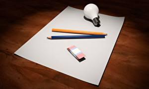 Wallpapers Sheet of paper Light bulb Pencil 3D Graphics