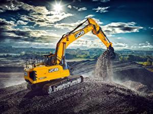Fondos de escritorio Cielo Nube Sol Pala excavadora Amarillo JCB 220X lc