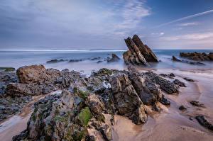 Fotos Spanien Küste Himmel Felsen Asturias, Playa de Vega Natur