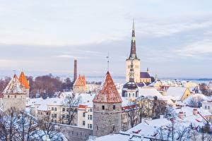 Fotos Tallinn Estland Kirche Winter Haus Schnee