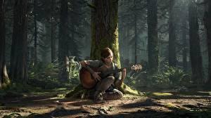 Hintergrundbilder The Last of Us 2 Baumstamm Gitarre Sitzt Ellie