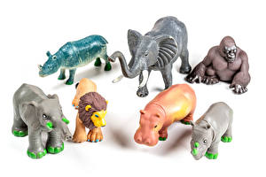 Pictures Toy Elephants Hippos Monkey Lions White background