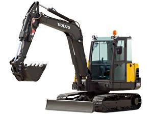 Bilder Volvo Technik Bagger Gelb Schwarz Weißer hintergrund EC55C