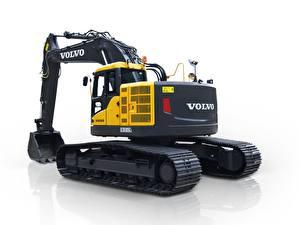 Hintergrundbilder Volvo Technik Bagger Gelb Weißer hintergrund ECR305C