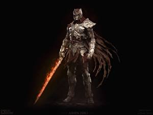 Pictures Warrior Dark Souls Swords Armor Black background Mega Man in Dark Souls, Keos Masons, Ashen Zero vdeo game Fantasy