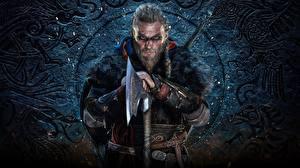 Desktop hintergrundbilder Krieger Mann Assassin's Creed Wikinger Streitaxt Bärtige Valhalla Spiele