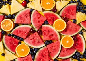 Hintergrundbilder Wassermelonen Apfelsine Heidelbeeren das Essen