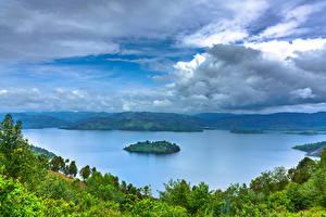 Sfondi desktop Africa Lago Isola Cielo Nuvole Alberi Rwanda, Lake Burera, Ruhengeri, Mudimba Island