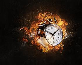 Pictures Alarm clock Clock face Fire Clock Black background