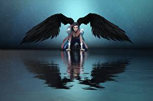 Wallpapers Angels Water Wings Reflected Girls 3D_Graphics