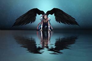 Bilder Engeln Wasser Flügel Spiegelt Fantasy Mädchens 3D-Grafik