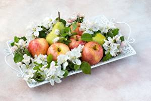 Wallpapers Apples Pears Fruit Tray Food pictures images