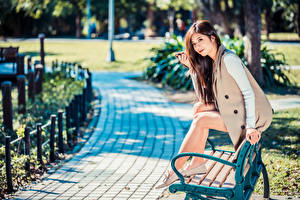 Wallpaper Asian Bench Sitting Legs Blurred background Girls