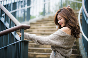 Photo Asiatic Bokeh Hair Smile Brown haired Sweater young woman