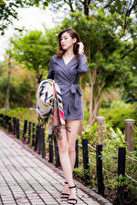 Image Asian Brown haired Frock Legs Bokeh Girls