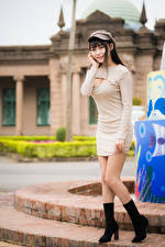 Picture Asiatic Frock Wearing boots Legs Baseball cap Girls