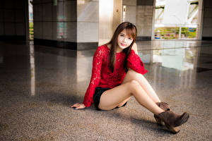 Photo Asiatic Sit Brown haired Legs Skirt Blouse Staring Sweet female