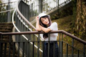 Fotos Asiaten Stiege Posiert Hand Der Hut junge Frauen