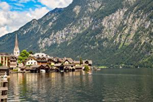 Fondos de Pantalla Austria Lago Montañas Hallstatt Casa Costa Bad Goisern, Gmunden County Ciudades imágenes