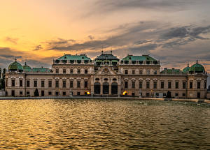 Wallpapers Austria Vienna Pond Sunrise and sunset Palace Belvedere Cities