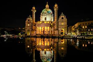 Bilder Österreich Wien Tempel Kirche Teich Spiegelung Spiegelbild Nacht Karlskirche Städte