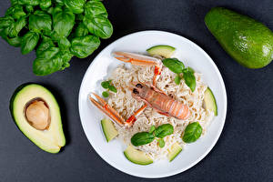 Hintergrundbilder Avocado Hummerartige Teller Makkaroni das Essen