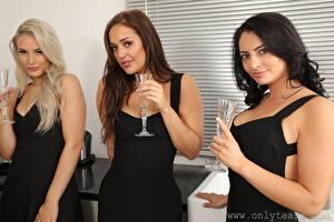 Bilder Becky Bond Paige F Only Hollie Q Drei 3 Weinglas Blond Mädchen Braune Haare Brünette Blick Hand junge frau