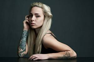 Photo Blonde girl Hair Glance Hands Tattoos