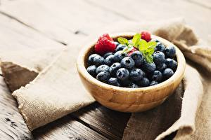 Picture Blueberries Berry Bowl From wood Food