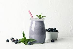 Picture Blueberries Berry Smoothie Drink Jar Mentha Food
