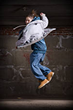 Image Brown haired Jump Dancing Jacket young woman