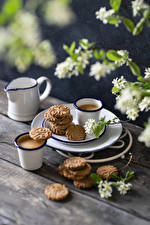 Picture Cappuccino Coffee Cookies Wood planks Mug Jug container