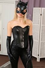 Photo Cassie B Masks Glance Blonde girl Hands Glove Latex young woman