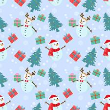 Pictures Christmas Texture Snowman New Year tree Gifts