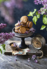 Pictures Clock Syringa Pastry Cookies Wood planks Petals Food