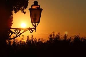 Tapety na pulpit Z bliska Świt i zachód słońca Latarnia uliczna Natura