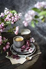 Fotos & Bilder Kaffee Cappuccino Milch Blühende Bäume Marmelade Becher Ast Lebensmittel