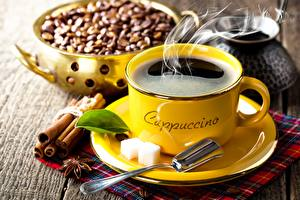 Wallpapers Coffee Cinnamon Cup Saucer Spoon Grain Sugar Food pictures images