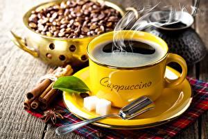 Fotos Kaffee Zimt Tasse Untertasse Löffel Getreide Zucker Lebensmittel