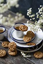 Bilder Kaffee Kekse Bretter Becher das Essen