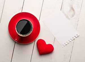 Pictures Coffee Cup Heart Template greeting card Wood planks
