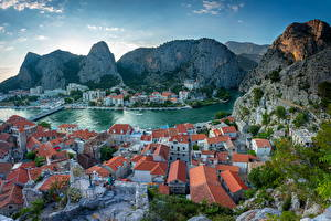 Pictures Croatia Mountain Building Roof Bay From above  Cities