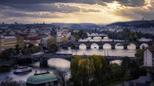 Pictures Czech Republic Prague River Bridge Building Cities