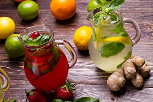 Photo Drinks Lime Lemons Strawberry Lemonade Ginger Boards Jug container Food