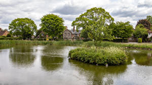 Wallpaper England Houses Pond Village Trees Tylers Green Nature