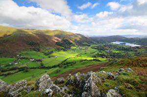 壁紙,英格兰,山,湖泊,草甸,云,岩,丘,Lake District, Cumbria,大自然,