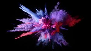 Pictures Explosions Violet Black background Paint Powder