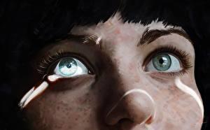 Tapety na pulpit Oczy Rysowane Zbliżenie Nosa młode kobiety