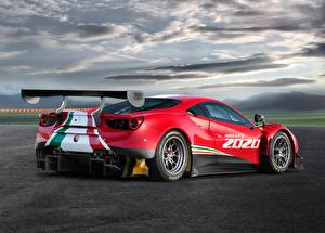Wallpapers Ferrari Red Clouds Back view 488, GT3, Evo automobile