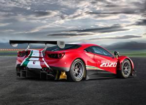 Bilder Ferrari Rot Wolke Hinten 488, GT3, Evo auto